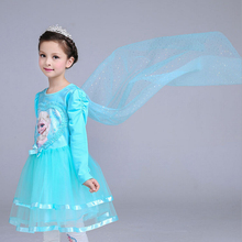 Good quality Autumn/winter 2017 new Girls Clothes Princess Dress Anna Elsa Party Girl Dress Children Clothing free