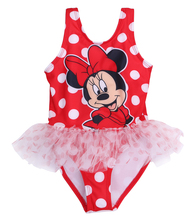 hot Baby Girl Swimsuit Minny Mouse Cute Cartoon Bathing Kids Swimwear Tankinis Girl Bikini