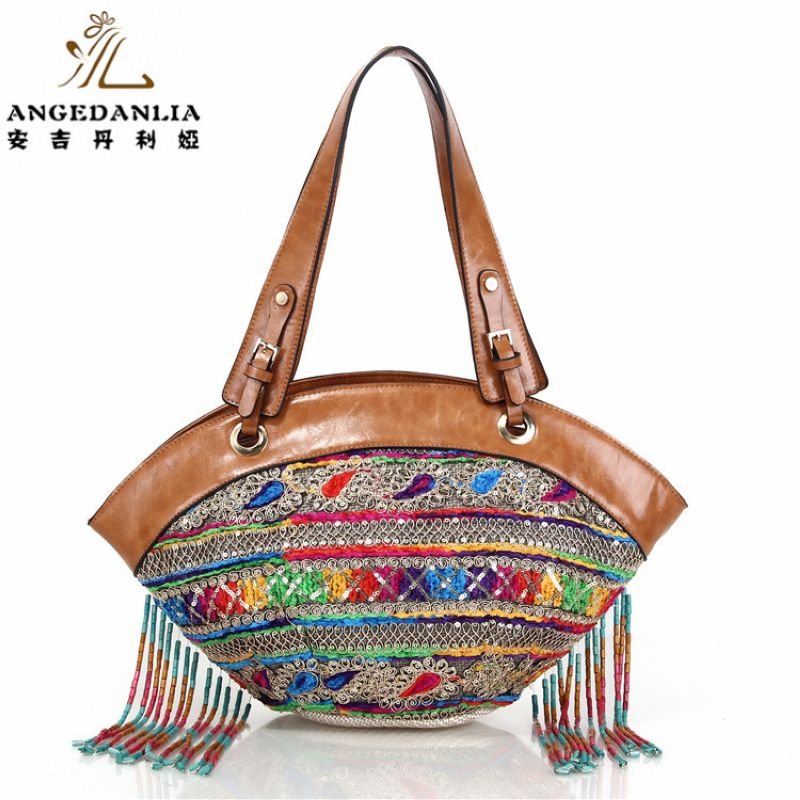 Tassel hippie embroidery Women Striped vintage Handbag Bohemian Boho  Bags Cotton Fabric Bag national folk-custom ethnic bags<br>