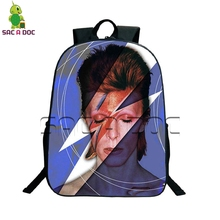 David Bowie Rock Backpack Women Men School Backpack for Teenagers Boys Girls School Bags Laptop Backpack Children Daily Bags(China)