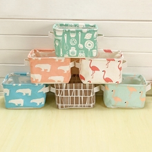 2017 Cartoon Toy Storage box Cotton Linen Desktop Waterproof Kids Storage Basket Cosmetic Organizer makeup Storage Bag