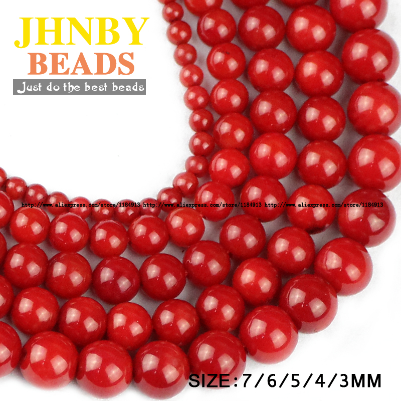 JHNBY Red coral Natural coral stone High quality Round Loose beads ball 2.5/4//5/6/7MM Jewelry bracelet accessories making DIY()
