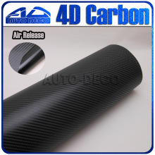 30x1.52M  Black 4D  Carbon Fiber Vinyl Glossy Film Auto car Wrapping Vinyl Wrap Foil sticker