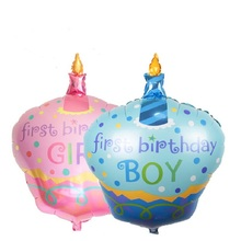 96*69cm 1pcs Birthday Cake Foil Balloons Baby Shower Balloon 1st first birthday baby boy girl Party supplier Decoration globos(China)