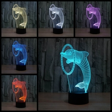 3D illusion Led Night Light Lights With Touch Button Children Night Light 7Colors 3D Dolphin Table Lamp Novelty Children Lamp(China)