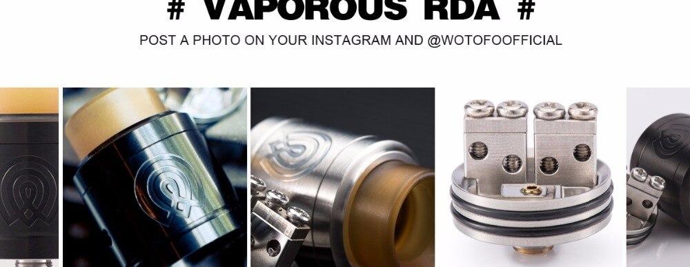 Original WOTOFO THE VAPOROUS RDA  Electronic cigarette 24mm Dual coil two post deck bottom refill vaporous RDA Atomizer Tank