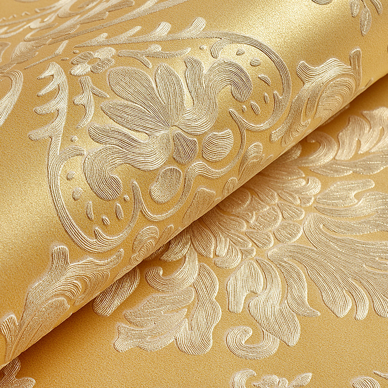 European-style golden non-woven wallpaper Damascus 3D Deep Embossed Wall paper papel de parede decoration tapete 53x1000cm<br>