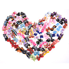 50 Pcs/Lot Lovely Double-deck Handmade Accessories For Pet Dogs Flower Little Bows Dog Bow Grooming Multi-typed Pet Supplies