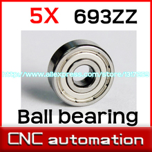 5pcs 693ZZ Deep groove ball bearing,bearing steel 3X8X4 mm 693 2Z radial shaft