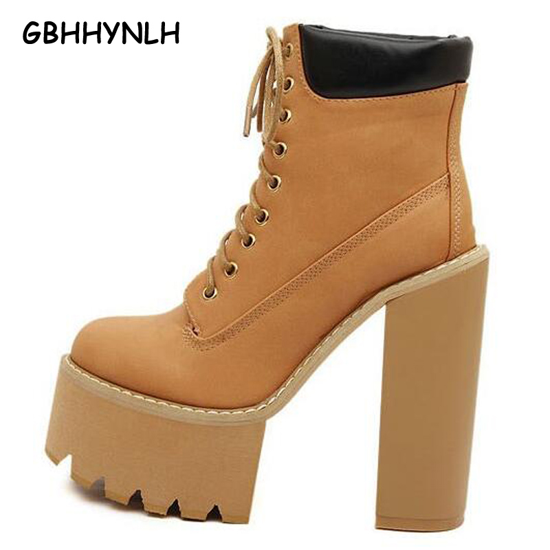 lace up boots women pumps winter autumn shoes women boots short high heels motorcycle women ankle fur boots platform boots LJA61<br>