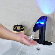Modern Deck Mounted LED Color Sensor Oil Rubbed Bronze Faucet Round Plate Cover