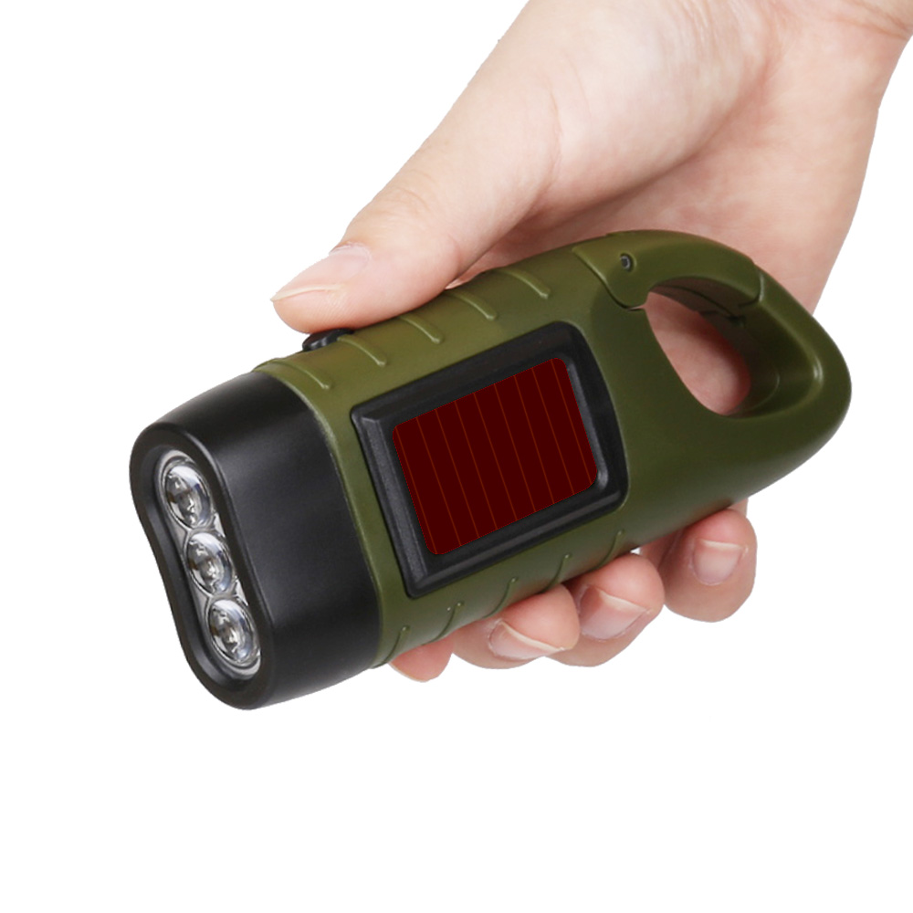 Professional Portable LED Hand Crank Dynamo Solar Power Flashlight Torch for Outdoor Camping Mountaineering Traditional Design (2)