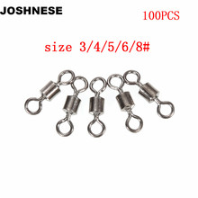 JOSHNESE 100pcs/lot Fishing Swivels Rolling Swivel Connector with Ball Bearing Solid Rings Sea Fishing Accessories