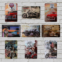 Retro Car Route 66 Vintage Poster Metal Tin Signs 20X30CM Iron Plate Wall Decor Plaque Club Home Bar Shop Garage Wall Picture(China)