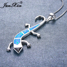 JUNXIN 925 Sterling Silver Filled Animal Choker Blue/White/Orange Fire Opal Cute Lizard Pendant Necklaces For Women Men Gifts(China)