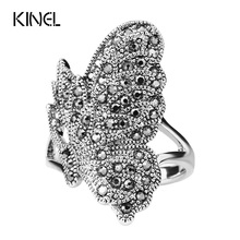 Unique Black CZ Zircon Butterfly Ring For Women Bohemia Style Color Silver Vintage Animal Jewelry Can Be Paired(China)