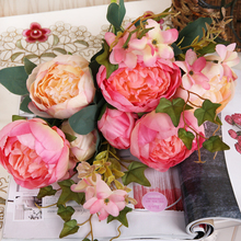 11 Heads European Wedding Peony Decor Home Party Silk Flowers Peony silk flower 1 Bouquet Artificial Flower Peony Fake Peopny