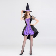 VASHEJIANG Witch Costume Halloween Party Wizards Costume Women Sexy Swallow Tail Braces magician Performances Fancy Dress+Hat(China)