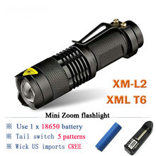 Led Torch Mini telescoping lanterna CREE XML T6 L2 rechargeable Led Flashlight waterproof lamp 3800 Lumens Use 18650 battery
