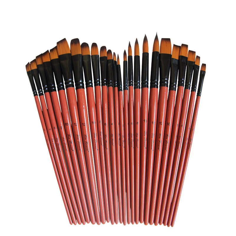 Nylon Hair Oil Paint Brush Round Filbert Angel Flat Acrylic Learning Diy Watercolor Pen for Artists Painters Beginners, 6Pcs/set