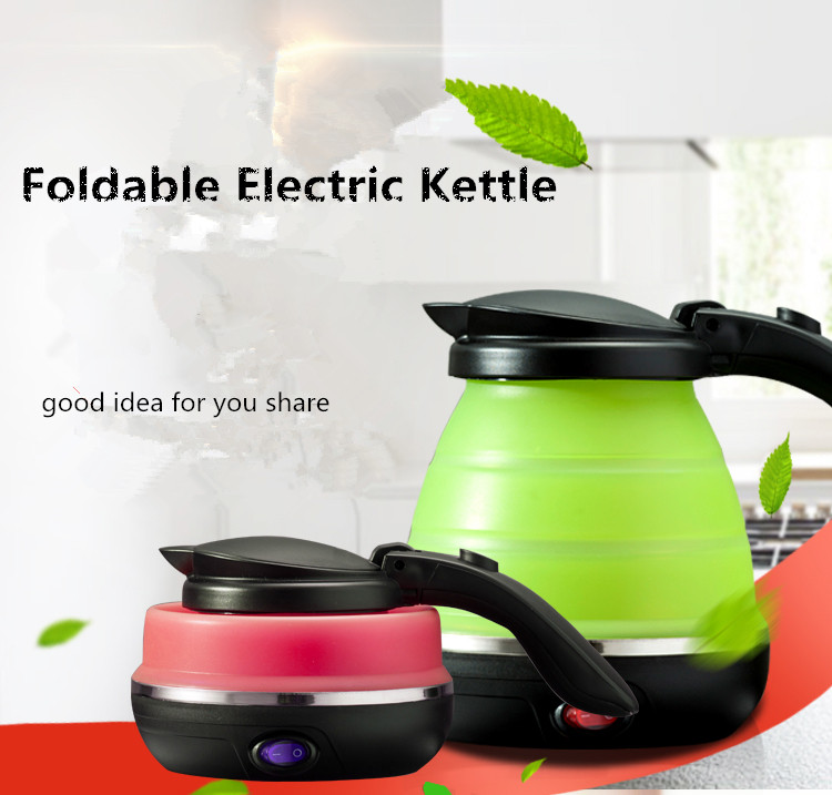EU plug Travel kettle foldable water kettle portable small capacity silicone and stainless steel electric kettle mini kettle<br>