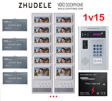 "ZHUDELE Building Home security intercom system 15 Units Apartment Video Door Phone Bell Intercom System 4.3""TFT monitor IN STOCK"