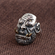FNJ 925 Silver Skull Ring Fashion Punk Long Tooth Skeleton Real S925 Sterling Thai Silver Rings for Men Jewelry Adjustable Size(China)