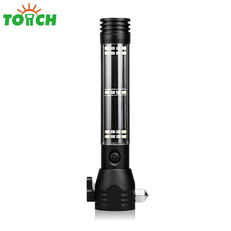 Multi-function powerful solar escape rescue flashlight car emergency safety hammer torch USB power bank COB led linterna(China)
