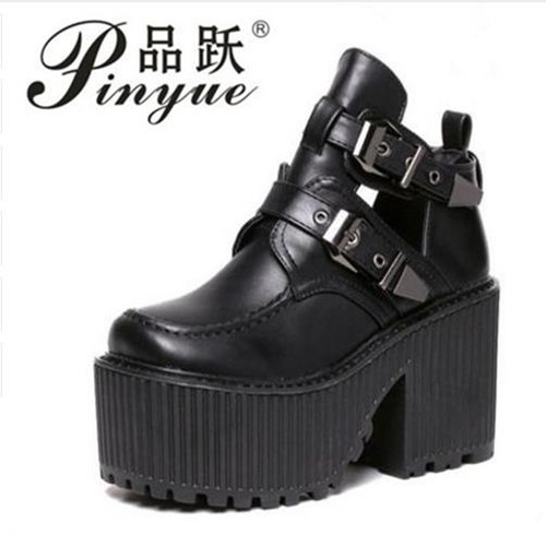 women chunky block high heel platform wedge heel shoes harajuku gothic cut out ankle boots Botas Femininas creepers biker shoes<br>