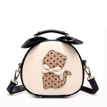 Cute 3D Point Cat Printing Women Leather Habdbags Casual Small Tote Bag Circle Ladies Hand Bags with Bow Women Messenger Bags(China)