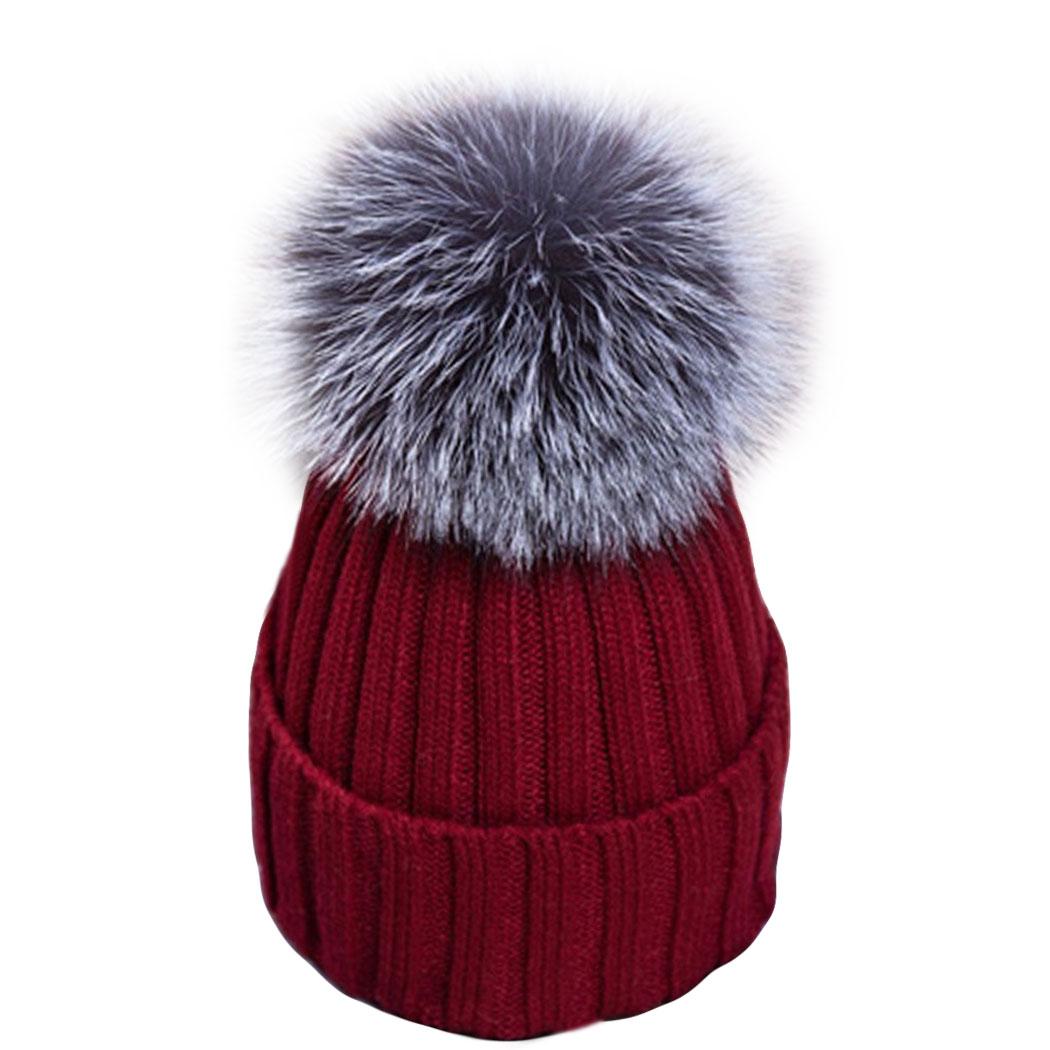 15 Color Fox Fur Pom poms Ball winter hat for women knitted wool beanies caps thick female pompom cap casual Warm Womens hatsÎäåæäà è àêñåññóàðû<br><br><br>Aliexpress