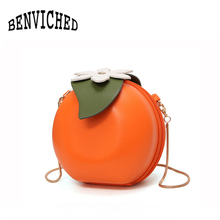 BENVICHED 2017 spring and summer new cute fruit orange flower small round bag shoulder Messenger bag package wave R33