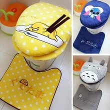3 piece/set Super soft Shu Velveteen thickening toilet potty sets toilet seat cover Cartoon Warm Close Stool Cushion Mat 3 color
