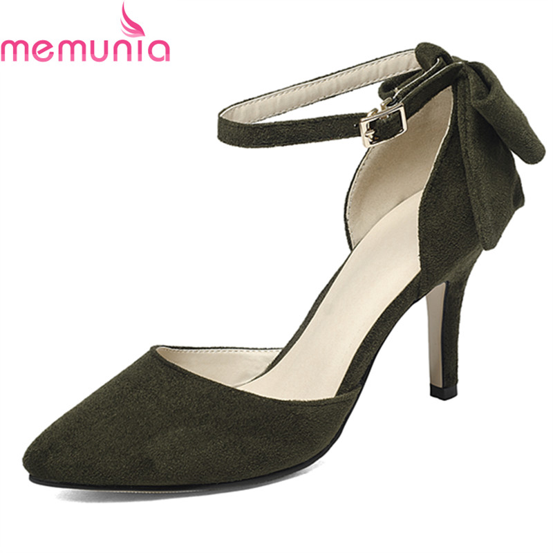 MEMUNIA 2018 new arrival extreme high heels shoes sexy pointed toe stiletto heels fashion butterfly-knot solid women pumps<br>