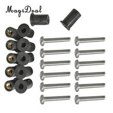 MagiDeal Durable 12Pc Marine M4/5/6 Rubber Well Nut Kit Stainless Steel Screw for Kayak Canoe Inflatable Fishing Boat Dinghy Acc