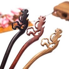 Lovely squirrel Sandalwood Hand-carved Hair stick with natural fragrance Hair stick Handmade vintage Women jewelry Chinese Gift