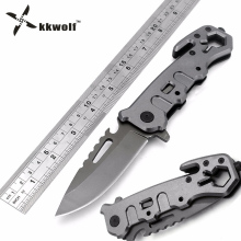 KKWOLF pocket folding knife 57HRC gray multi tools camping Tactical survival knives Aerospace aluminum rescue hunting knife gift
