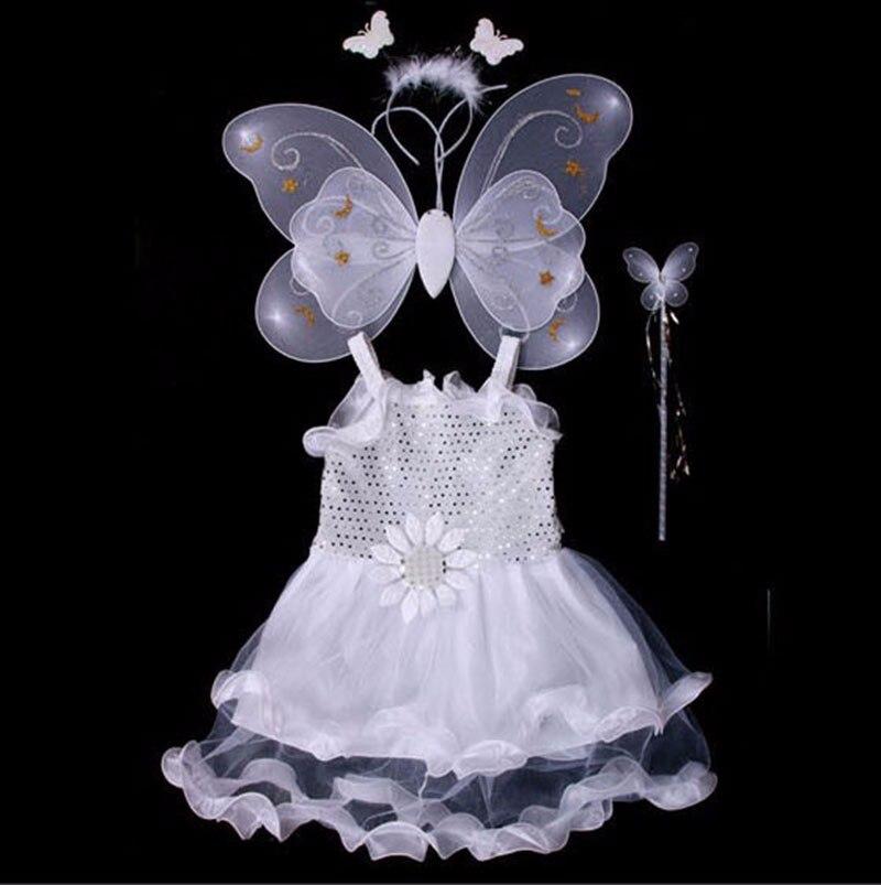 Fashion 4 pieces set enfant kids fancy fairy costumes halloween children<br><br>Aliexpress