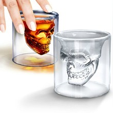 Novelty Double Wall Doomed Crystal Skull Shot Glass Cup Head Skull Vodka Whiskey Shot Wine Glass Cup Glassware Copo De Vidro Cup