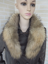 Genuine whole skin Raccoon fur collar (natural brown tips) scarf 75cm long