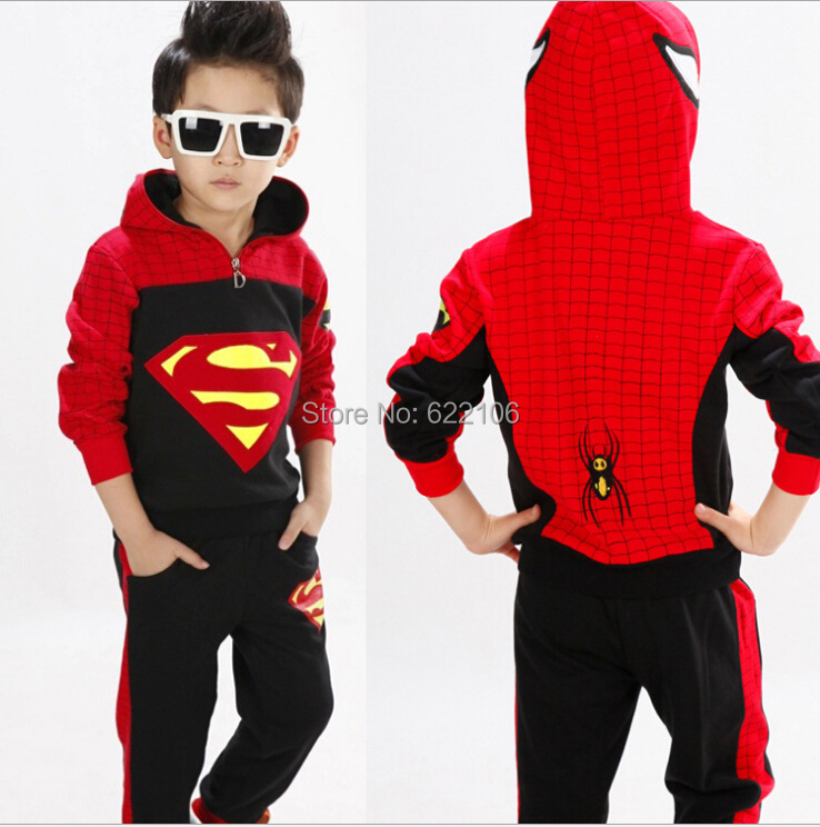 Children Clothing Sets Baby Kids Boys Cartoon Character Long Sleeve Costume Spider-Man Superman Hooded Clothing  Kids Clothes <br>