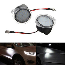 Mayitr 2pcs Car LED Side Mirror Puddle Lights For Ford Edge Mondeo Explorer Taubus Super Bright White Lamp(China)