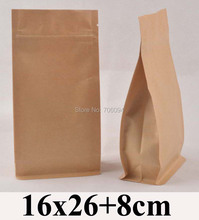 100PCS 16*26+8cm Flat bottom standup ziplock kraft bag  6.3''*10.2'' side gusset zipper kraft bag coffee tea nut kraft paper bag