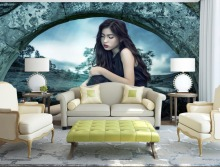 Asian girl Photo Wallpaper Retro Style Background Wall Wallpapers For Living room 3d Stereoscopic Wallpaper