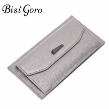 Bisi Goro Women Wallet Candy Color Cowhide Leather Purses Women Thin Long Clutch Wallet Credit Card Holder Purse Refinement Hasp(China)
