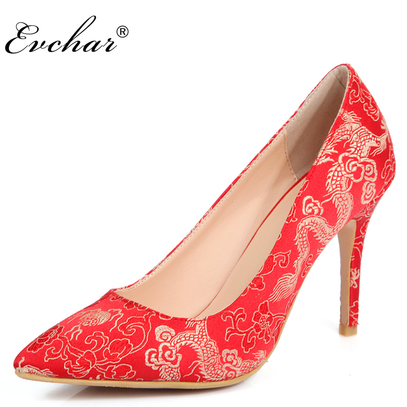 New  Elegant red wedding shoes Chineses style bridal cheongsam dress shoes thin high heels women pumps  size 34-39<br>