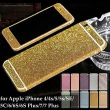 For iPhone 7 Plus 6s 5s SE 5C 4S Cell Phone Decor Full Body Sticker Fashion Skin Luxury Diamond Bling Film for Apple iPhone7(China)