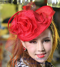 Free Shipping Fashion Women Red Charming Hair Fascinator Hats Flower Girl Hair Accessories Wedding Headpiece  Hearwear Hairbands