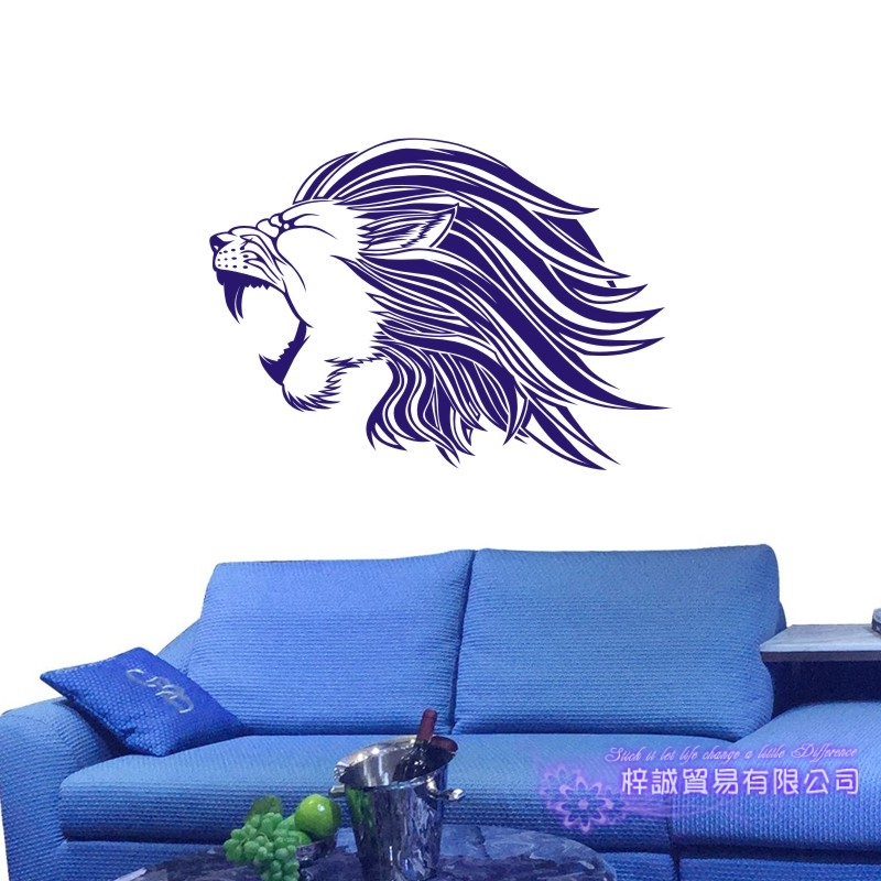 DCTAL Lion Wall Sticker Leon Decal Posters Vinyl Wall Art Decals Pegatina Decal Decor Mural Wild Animal Sticker