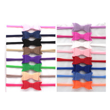 Nylon Headband Baby Girls Elastic Hairband Felt Hair Bows Children Toddler Solid Kids Head band Hair Accessories Cute 15Pcs/Lot(China)